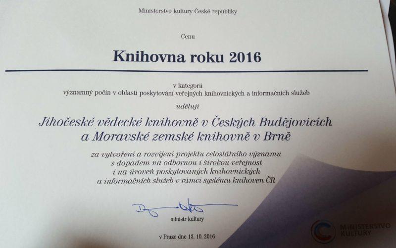 Ocenění Knihovna roku 2016