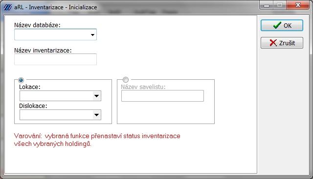 Inventarizace - inicializace