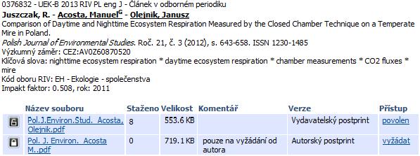 Zobrazení připojených souborů k záznamu
