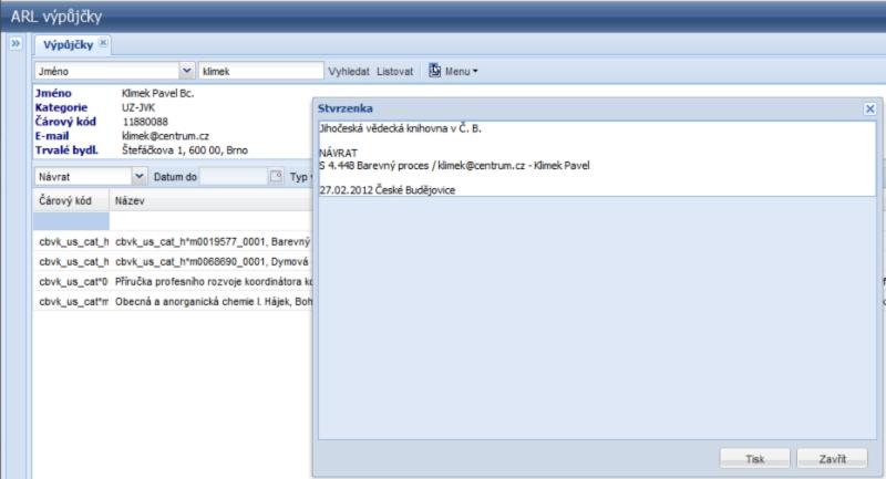 Webová aplikace - tisk stvrzenek